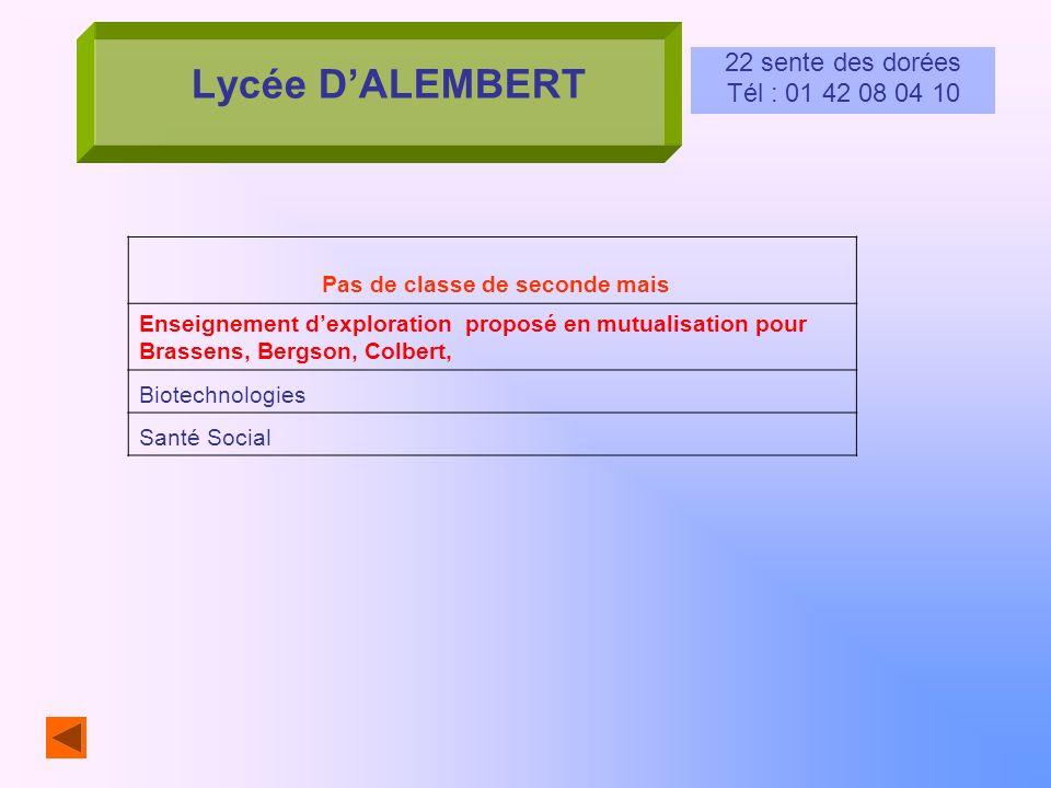 Lycée DALEMBERT 22 sente des dorées Tél : 01 42 08 04 10 Pas de classe de seconde mais Enseignement dexploration proposé en mutualisation pour Brassen