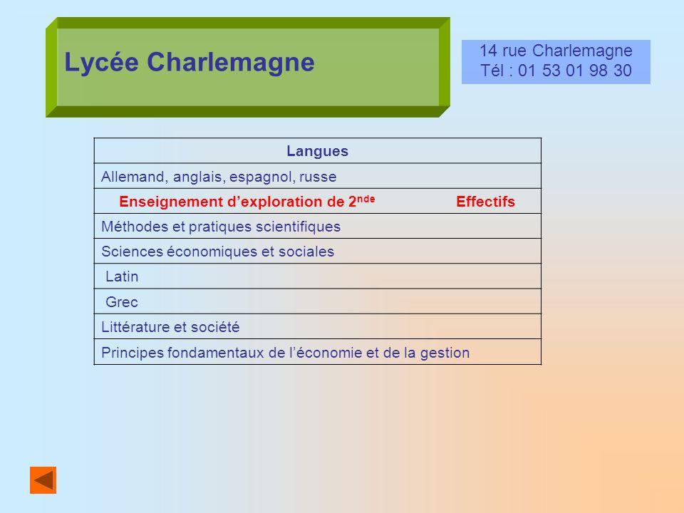 Lycée Charlemagne 14 rue Charlemagne Tél : 01 53 01 98 30 Langues Allemand, anglais, espagnol, russe Enseignement dexploration de 2 nde Effectifs Méth