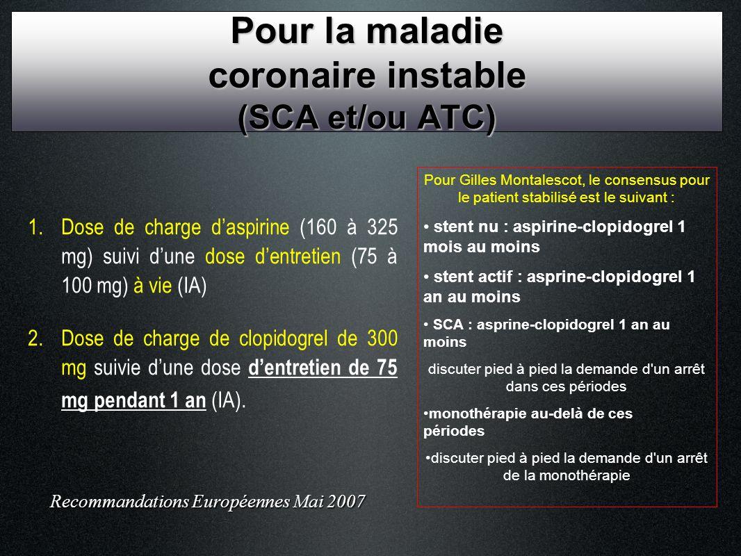 1. Dose de charge daspirine (160 à 325 mg) suivi dune dose dentretien (75 à 100 mg) à vie (IA) 2. Dose de charge de clopidogrel de 300 mg suivie dune