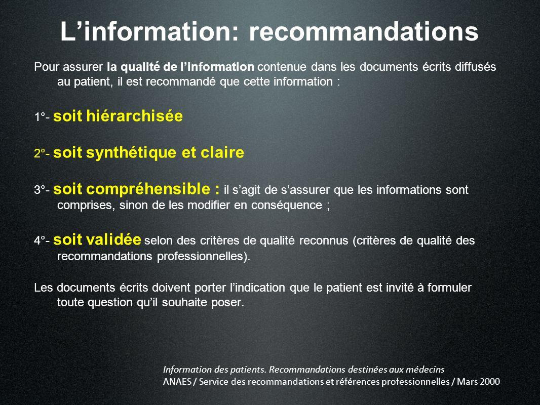 Linformation: recommandations Pour assurer la qualité de linformation contenue dans les documents écrits diffusés au patient, il est recommandé que ce