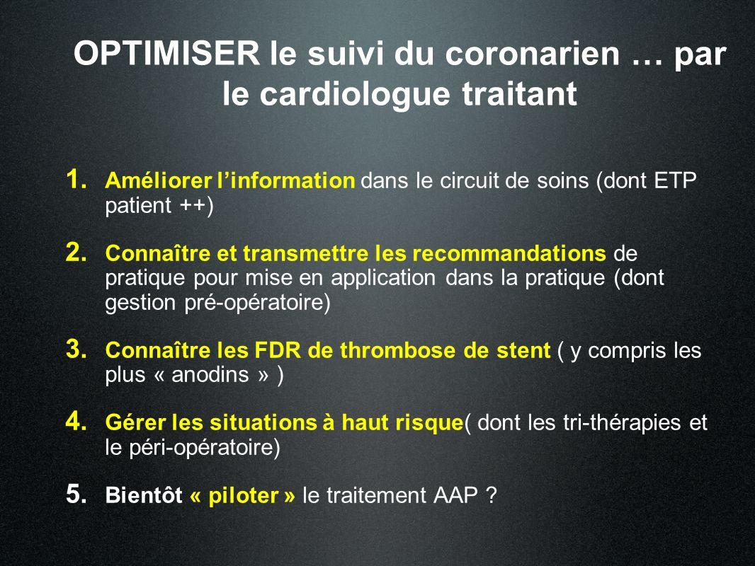 OPTIMISER le suivi du coronarien … par le cardiologue traitant 1. Améliorer linformation dans le circuit de soins (dont ETP patient ++) 2. Connaître e