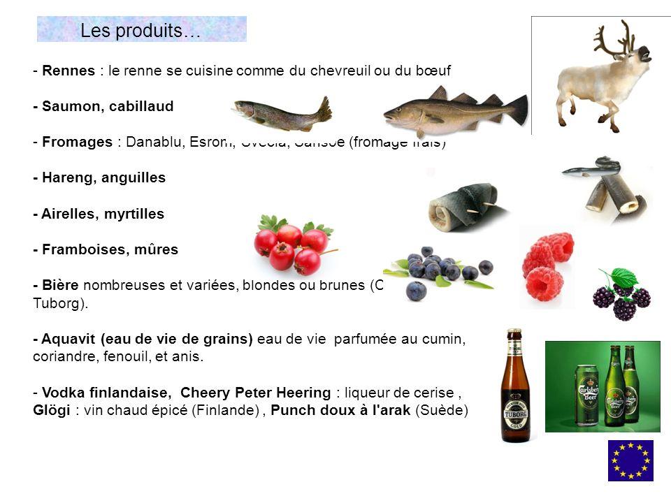 - Rennes : le renne se cuisine comme du chevreuil ou du bœuf - Saumon, cabillaud - Fromages : Danablu, Esrom, Svecia, Sansoe (fromage frais) - Hareng,