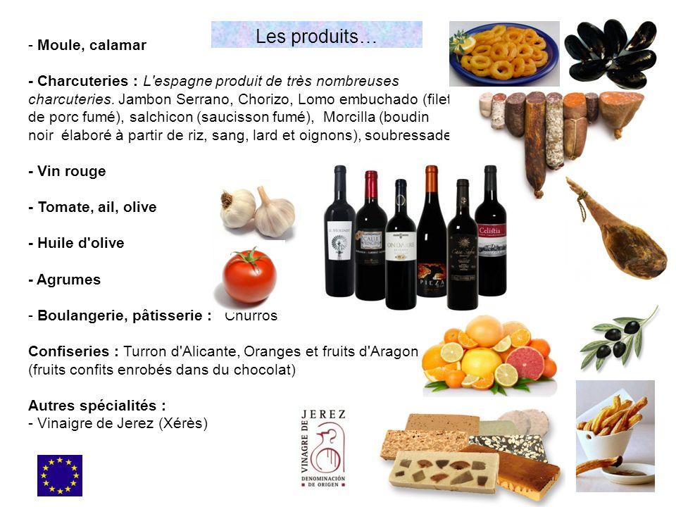 - Moule, calamar - Charcuteries : L'espagne produit de très nombreuses charcuteries. Jambon Serrano, Chorizo, Lomo embuchado (filet de porc fumé), sal