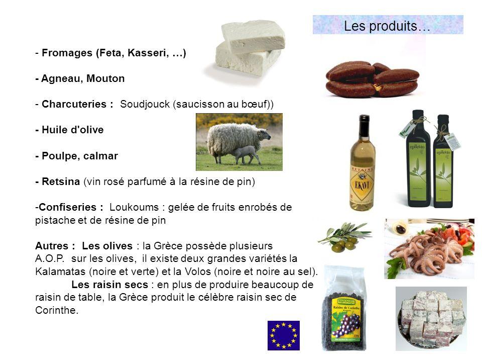 Les produits… - Fromages (Feta, Kasseri, …) - Agneau, Mouton - Charcuteries : Soudjouck (saucisson au bœuf)) - Huile d olive - Poulpe, calmar - Retsina (vin rosé parfumé à la résine de pin) -Confiseries : Loukoums : gelée de fruits enrobés de pistache et de résine de pin Autres : Les olives : la Grèce possède plusieurs A.O.P.