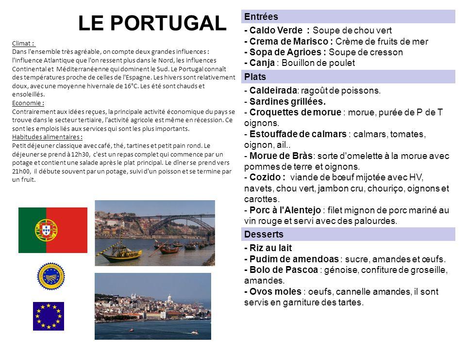 LE PORTUGAL Climat : Dans l ensemble très agréable, on compte deux grandes influences : l influence Atlantique que l on ressent plus dans le Nord, les influences Continental et Méditerranéenne qui dominent le Sud.