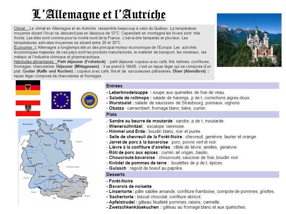 LAllemagne et lAutriche Climat : Le climat en Allemagne et en Autriche ressemble beaucoup à celui du Québec. La température moyenne durant l'hiver ne