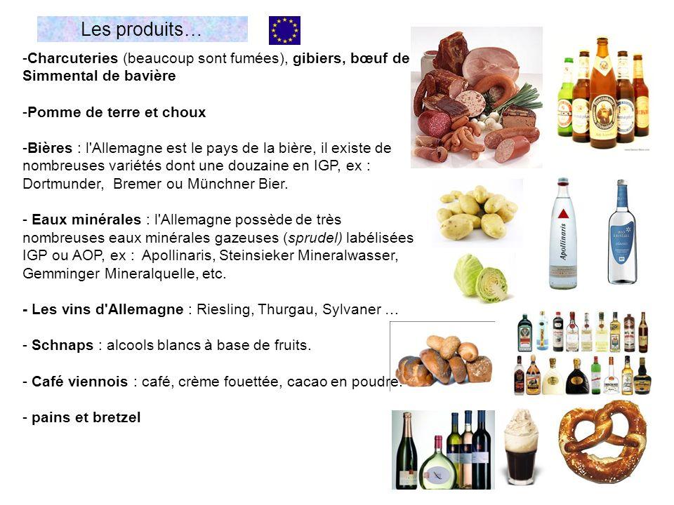 Les produits… -Charcuteries (beaucoup sont fumées), gibiers, bœuf de Simmental de bavière -Pomme de terre et choux -Bières : l'Allemagne est le pays d