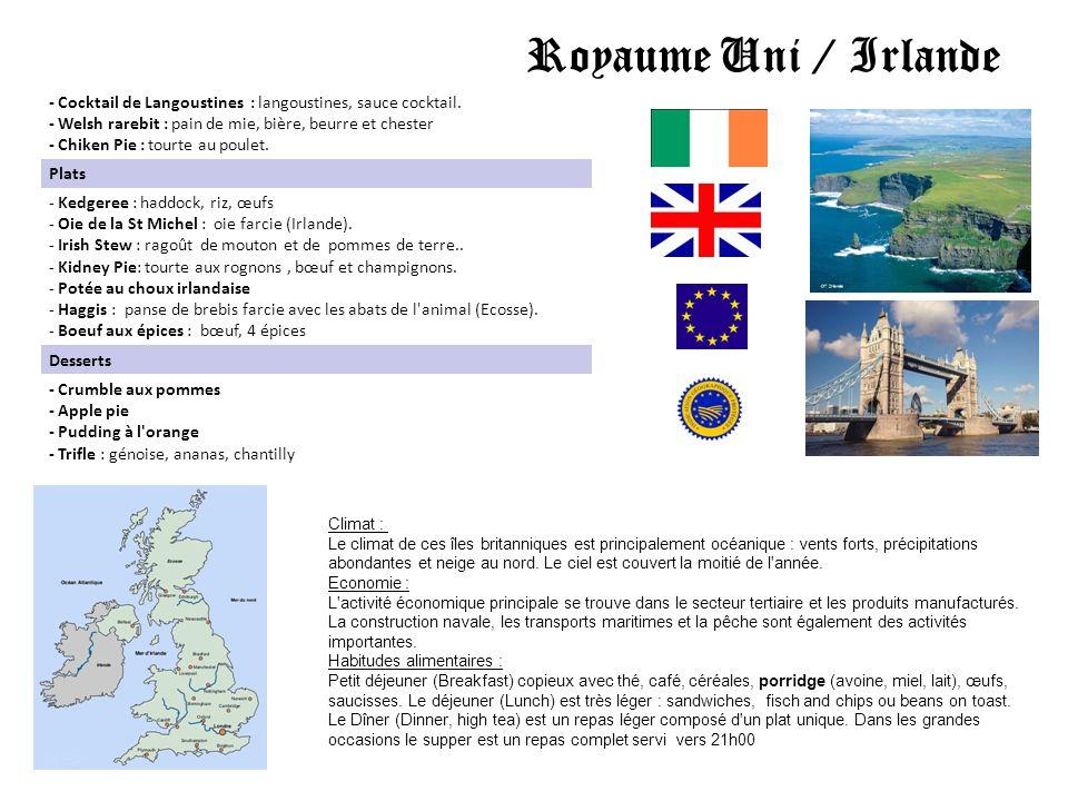Royaume Uni / Irlande Climat : Le climat de ces îles britanniques est principalement océanique : vents forts, précipitations abondantes et neige au no