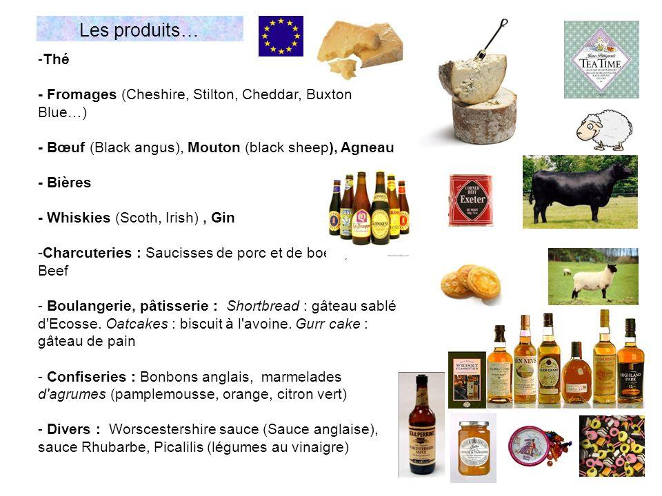 -Thé - Fromages (Cheshire, Stilton, Cheddar, Buxton Blue…) - Bœuf (Black angus), Mouton (black sheep), Agneau - Bières - Whiskies (Scoth, Irish), Gin -Charcuteries : Saucisses de porc et de boeuf, Corned Beef - Boulangerie, pâtisserie : Shortbread : gâteau sablé d Ecosse.