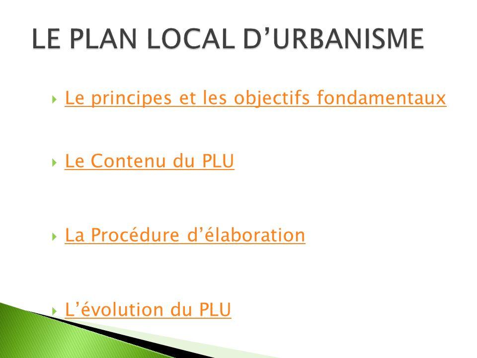Le principes et les objectifs fondamentaux Le Contenu du PLU La Procédure délaboration Lévolution du PLU