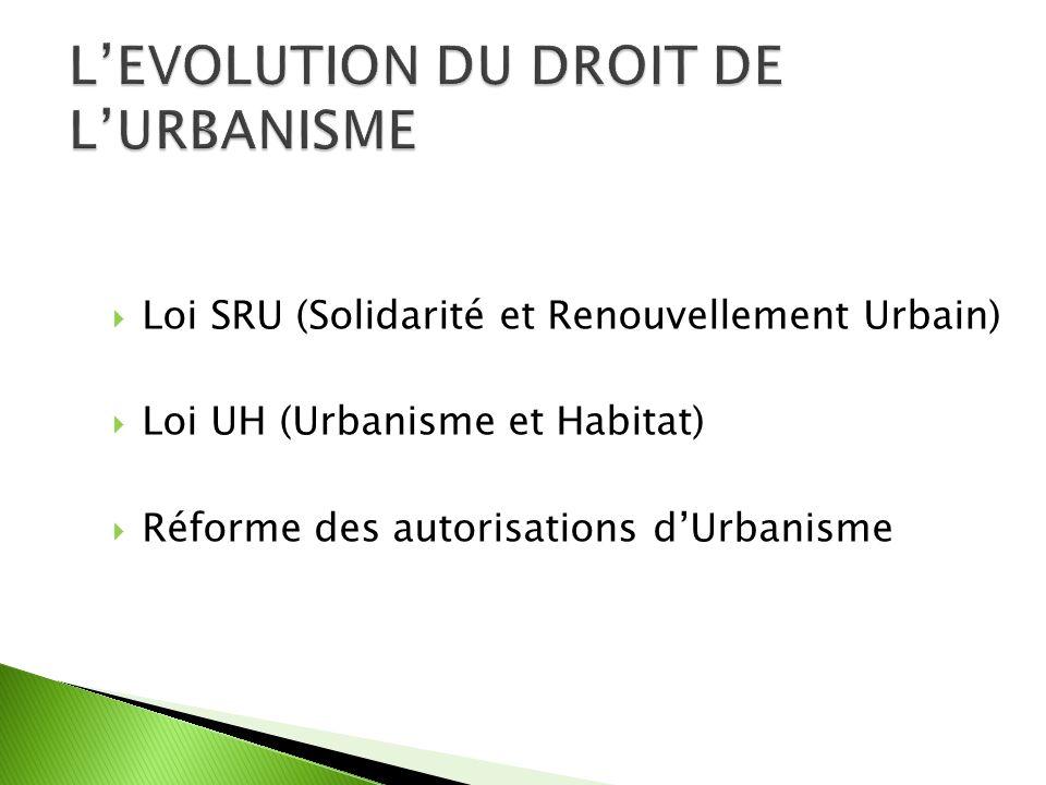Loi SRU (Solidarité et Renouvellement Urbain) Loi UH (Urbanisme et Habitat) Réforme des autorisations dUrbanisme