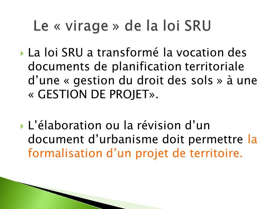 La loi SRU a transformé la vocation des documents de planification territoriale dune « gestion du droit des sols » à une « GESTION DE PROJET».