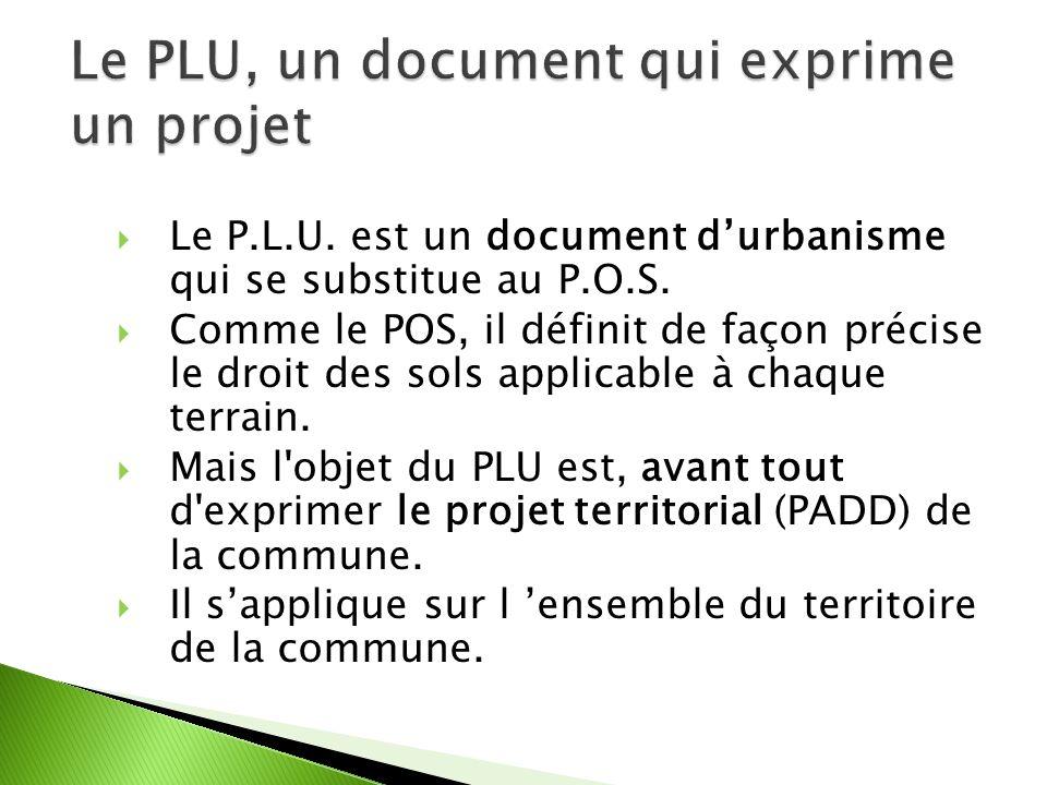 Le P.L.U. est un document durbanisme qui se substitue au P.O.S.