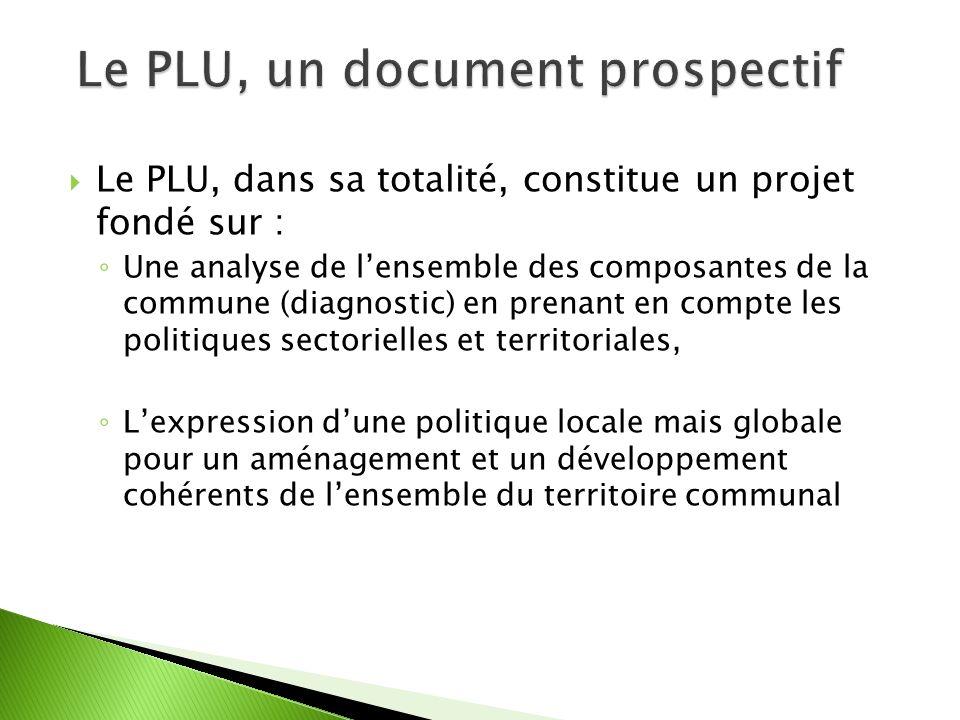 Le PLU, dans sa totalité, constitue un projet fondé sur : Une analyse de lensemble des composantes de la commune (diagnostic) en prenant en compte les politiques sectorielles et territoriales, Lexpression dune politique locale mais globale pour un aménagement et un développement cohérents de lensemble du territoire communal