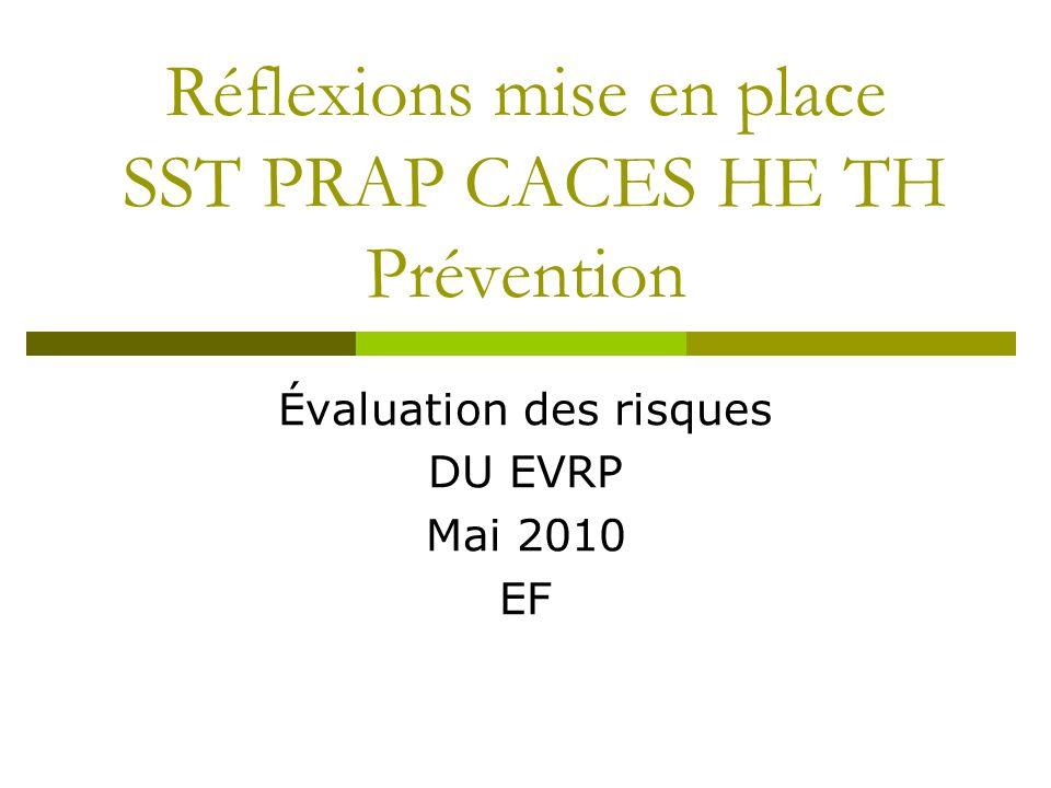 Réflexions mise en place SST PRAP CACES HE TH Prévention Évaluation des risques DU EVRP Mai 2010 EF