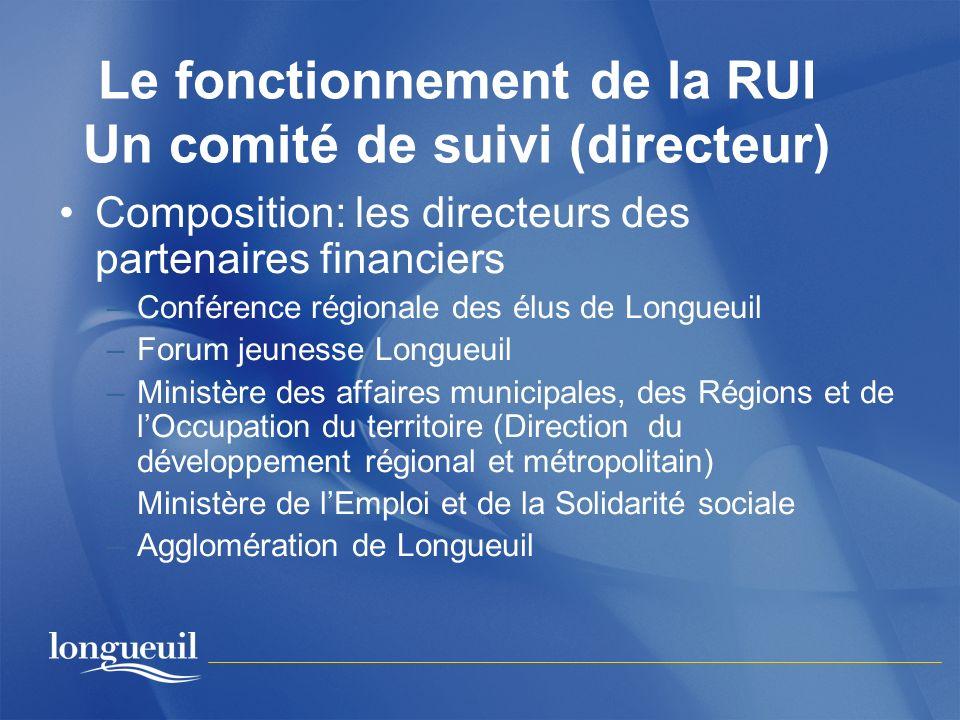Le fonctionnement de la RUI Un comité de suivi (directeur) Composition: les directeurs des partenaires financiers –Conférence régionale des élus de Lo
