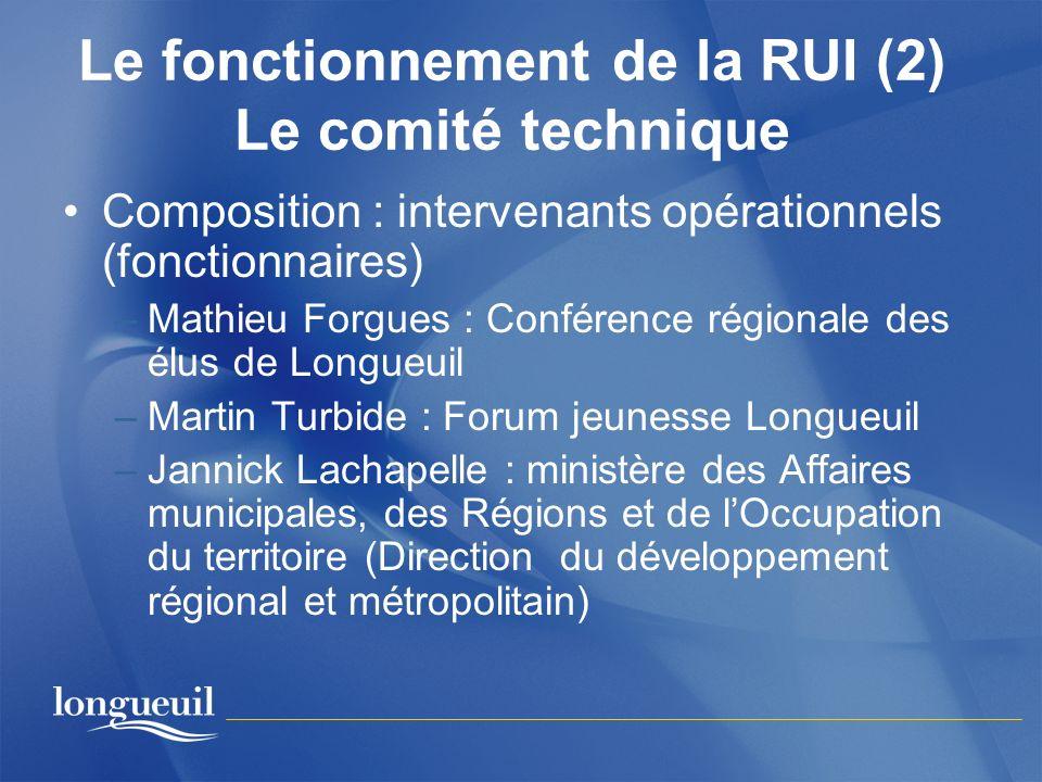 Le fonctionnement de la RUI (2) Le comité technique Composition : intervenants opérationnels (fonctionnaires) –Mathieu Forgues : Conférence régionale