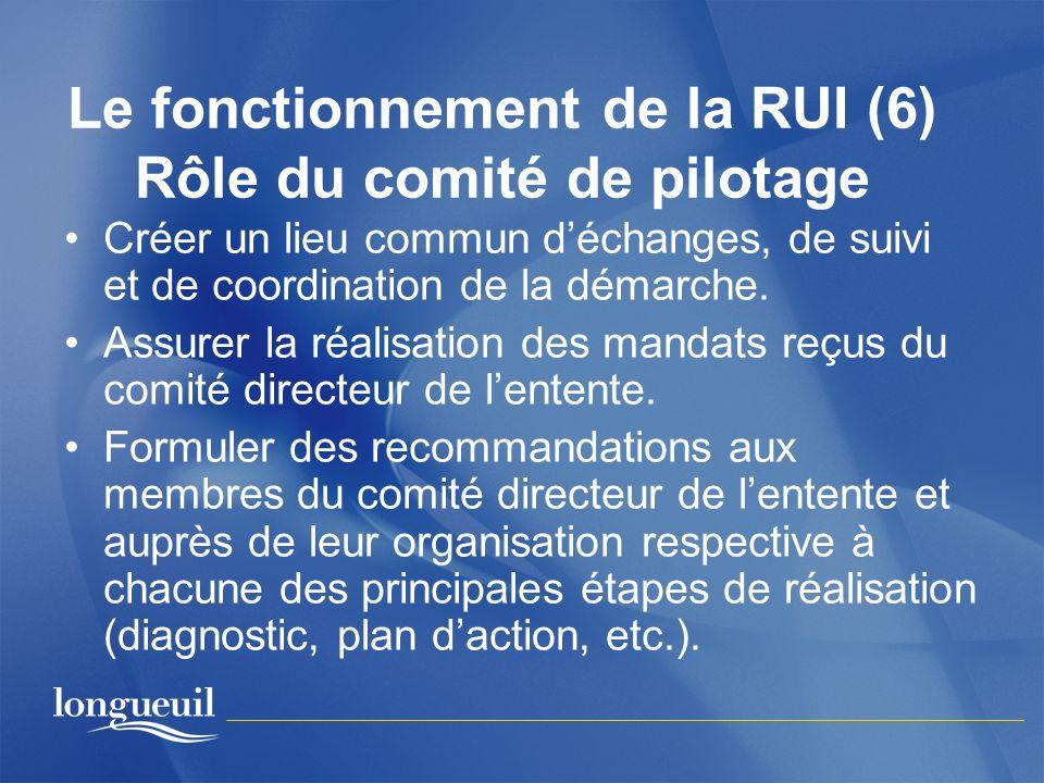 Le fonctionnement de la RUI (6) Rôle du comité de pilotage Créer un lieu commun déchanges, de suivi et de coordination de la démarche. Assurer la réal