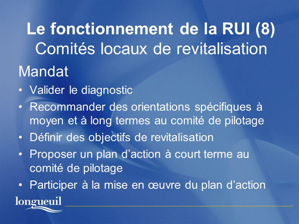 Le fonctionnement de la RUI (8) Comités locaux de revitalisation Mandat Valider le diagnostic Recommander des orientations spécifiques à moyen et à lo