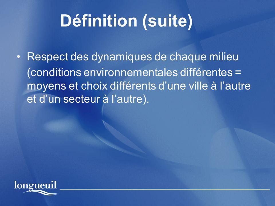 Définition (suite) Respect des dynamiques de chaque milieu (conditions environnementales différentes = moyens et choix différents dune ville à lautre