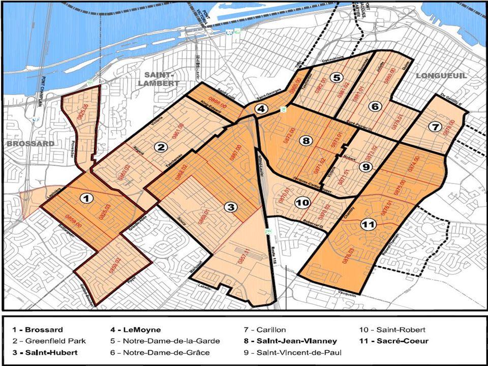 Les territoires recommandés Brossard, le secteur des A