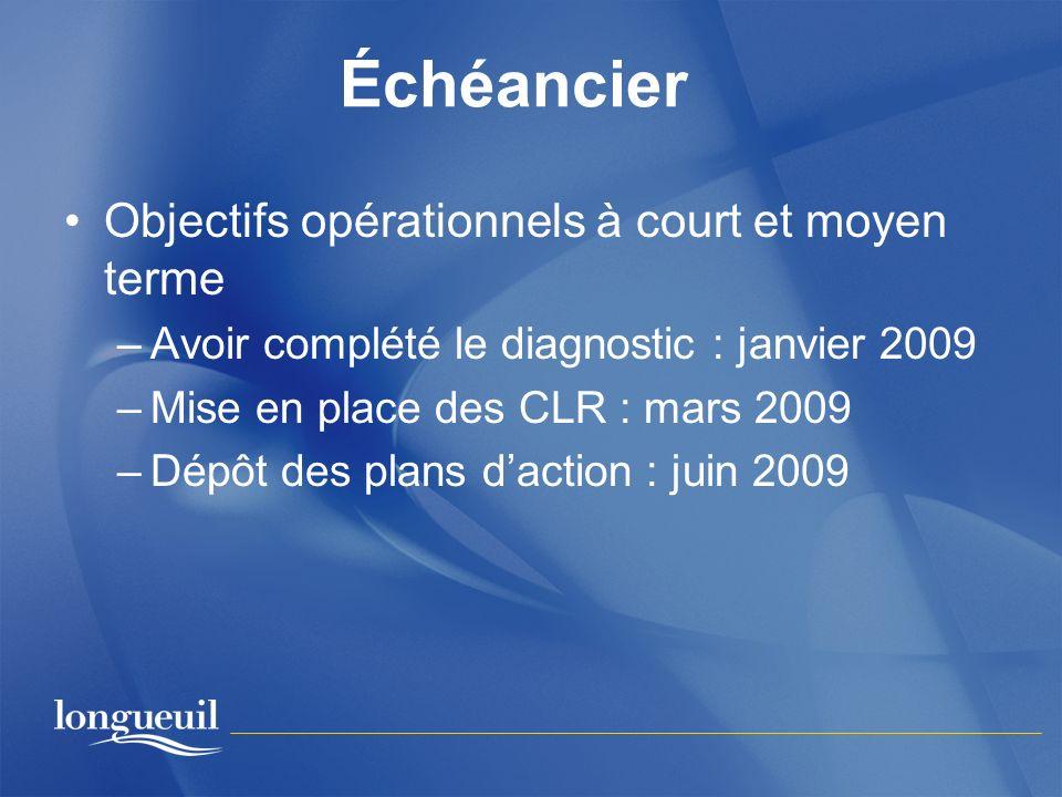 Échéancier Objectifs opérationnels à court et moyen terme –Avoir complété le diagnostic : janvier 2009 –Mise en place des CLR : mars 2009 –Dépôt des p