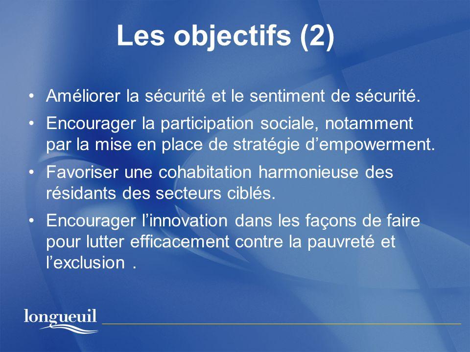 Les objectifs (2) Améliorer la sécurité et le sentiment de sécurité. Encourager la participation sociale, notamment par la mise en place de stratégie