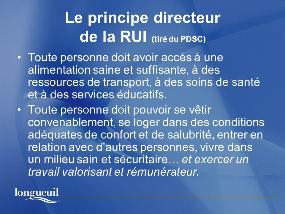 Le principe directeur de la RUI (tiré du PDSC) Toute personne doit avoir accès à une alimentation saine et suffisante, à des ressources de transport,