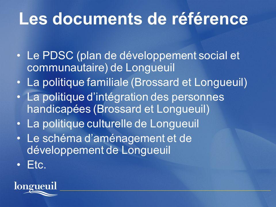 Les documents de référence Le PDSC (plan de développement social et communautaire) de Longueuil La politique familiale (Brossard et Longueuil) La poli