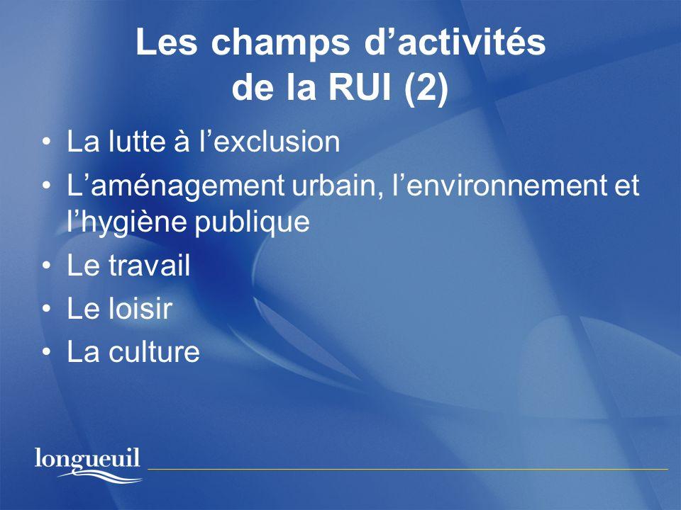 Les champs dactivités de la RUI (2) La lutte à lexclusion Laménagement urbain, lenvironnement et lhygiène publique Le travail Le loisir La culture