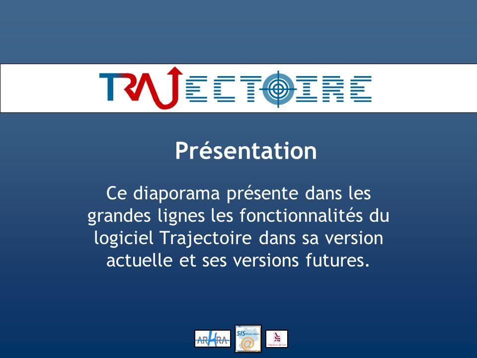 Présentation Ce diaporama présente dans les grandes lignes les fonctionnalités du logiciel Trajectoire dans sa version actuelle et ses versions future