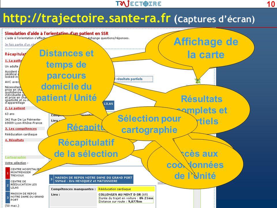 10 http://trajectoire.sante-ra.fr (c aptures décran) Dernière étape Récapitulatif de lorientation Résultats complets et partiels Fiche synthétique des
