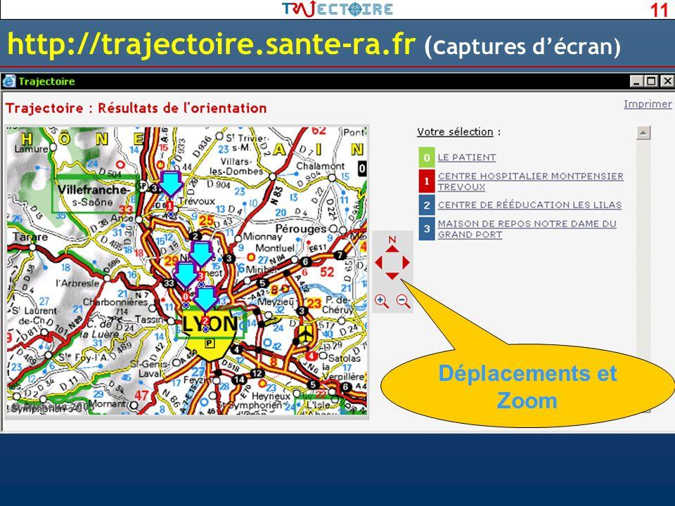 11 http://trajectoire.sante-ra.fr (c aptures décran) Déplacements et Zoom