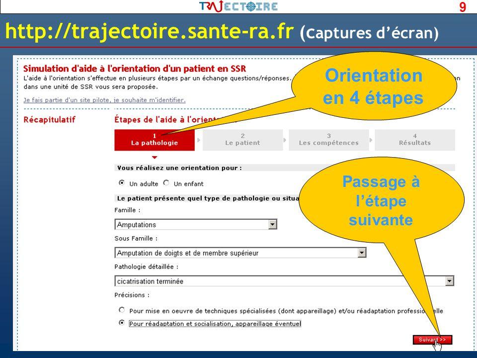 9 http://trajectoire.sante-ra.fr (c aptures décran) Passage à létape suivante Orientation en 4 étapes