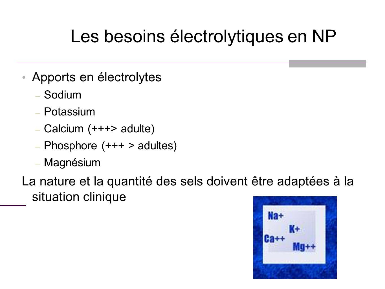 Apports en électrolytes – Sodium – Potassium – Calcium (+++> adulte) – Phosphore (+++ > adultes) – Magnésium La nature et la quantité des sels doivent