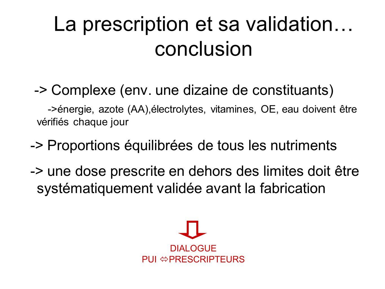 La prescription et sa validation… conclusion -> Complexe (env. une dizaine de constituants) ->énergie, azote (AA),électrolytes, vitamines, OE, eau doi