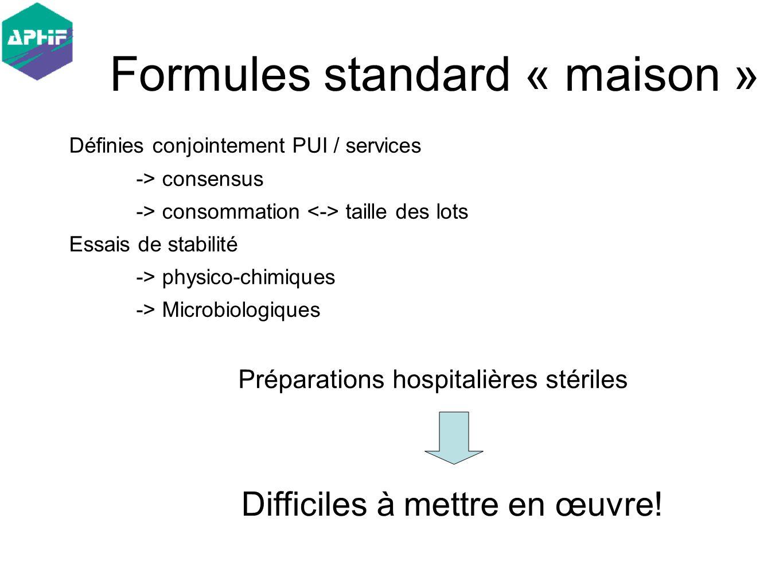 Définies conjointement PUI / services -> consensus -> consommation taille des lots Essais de stabilité -> physico-chimiques -> Microbiologiques Formul