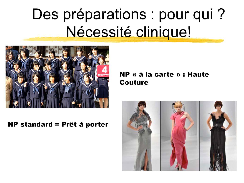 Des préparations : pour qui ? Nécessité clinique! NP « à la carte » : NP standard = Prêt à porter NP « à la carte » : Haute Couture