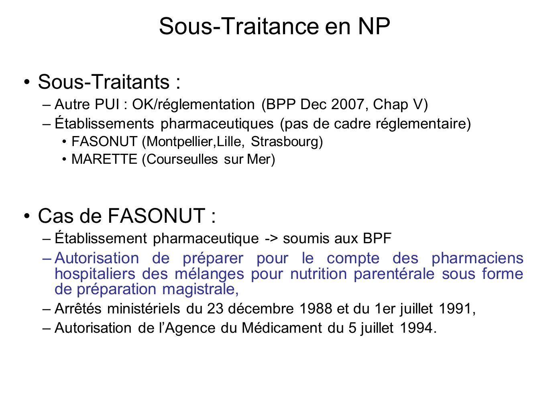 Sous-Traitance en NP Sous-Traitants : –Autre PUI : OK/réglementation (BPP Dec 2007, Chap V) –Établissements pharmaceutiques (pas de cadre réglementair