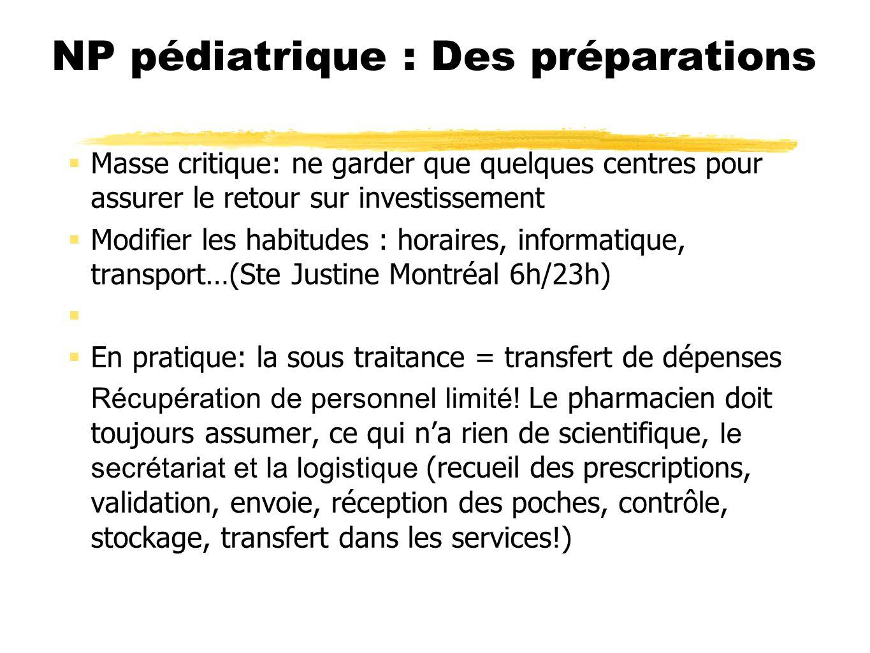 NP pédiatrique : Des préparations Masse critique: ne garder que quelques centres pour assurer le retour sur investissement Modifier les habitudes : ho