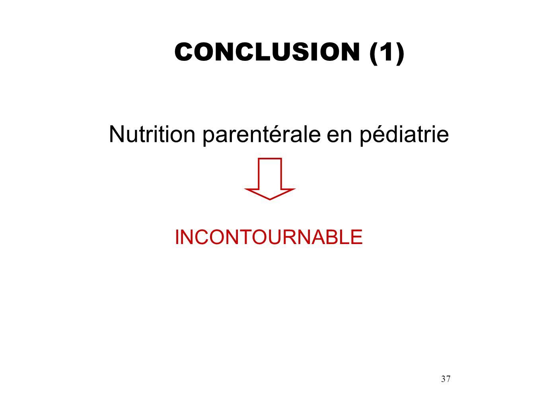 37 CONCLUSION (1) Nutrition parentérale en pédiatrie INCONTOURNABLE