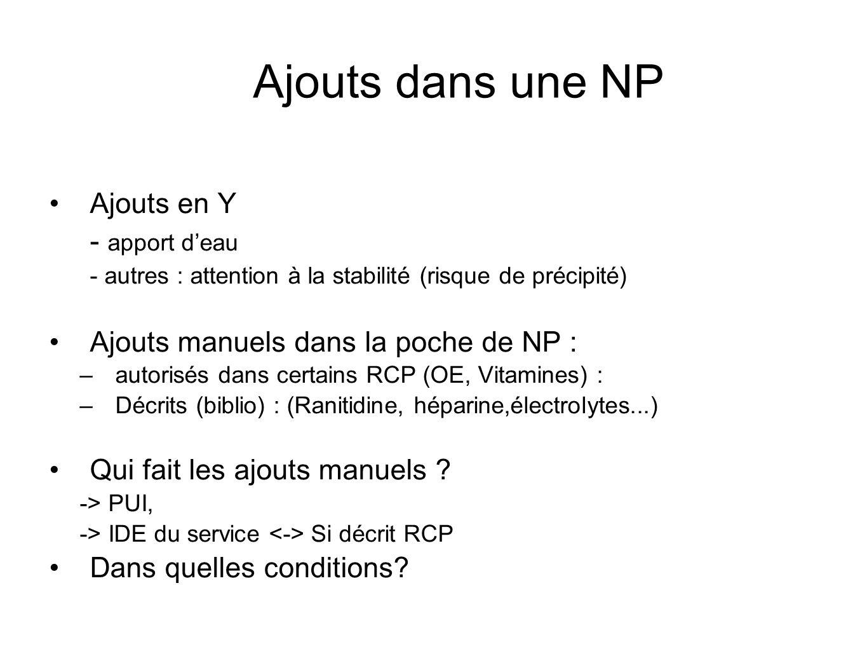 Ajouts dans une NP Ajouts en Y - apport deau - autres : attention à la stabilité (risque de précipité) Ajouts manuels dans la poche de NP : –autorisés