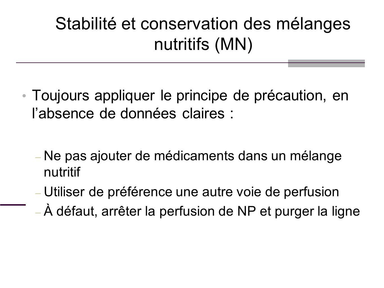 Toujours appliquer le principe de précaution, en labsence de données claires : – Ne pas ajouter de médicaments dans un mélange nutritif – Utiliser de