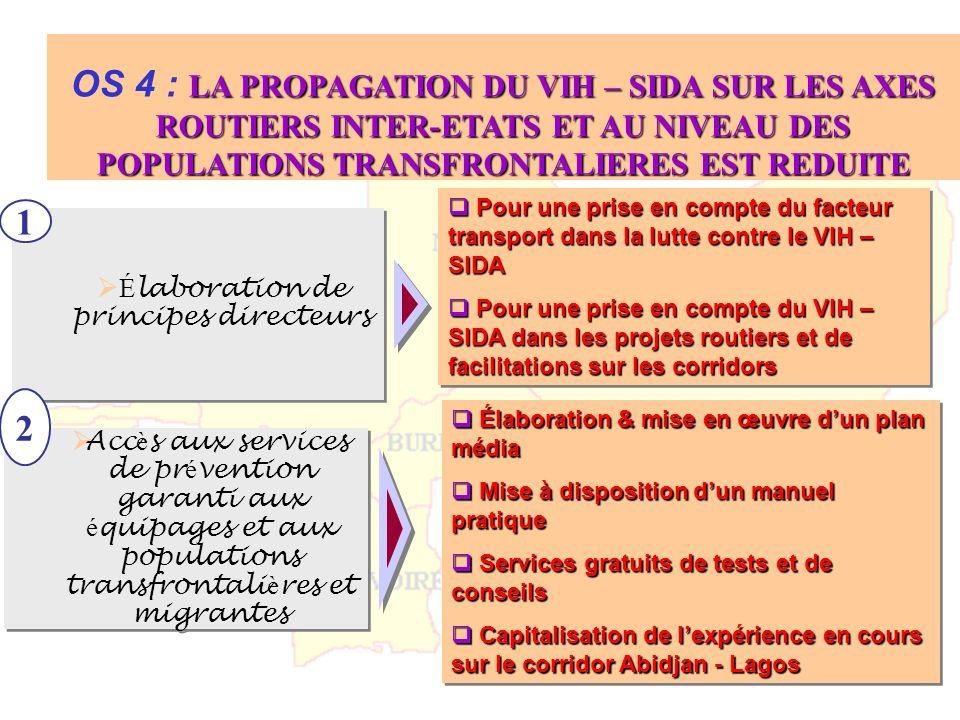 LA PROPAGATION DU VIH – SIDA SUR LES AXES ROUTIERS INTER-ETATS ET AU NIVEAU DES POPULATIONS TRANSFRONTALIERES EST REDUITE OS 4 : LA PROPAGATION DU VIH