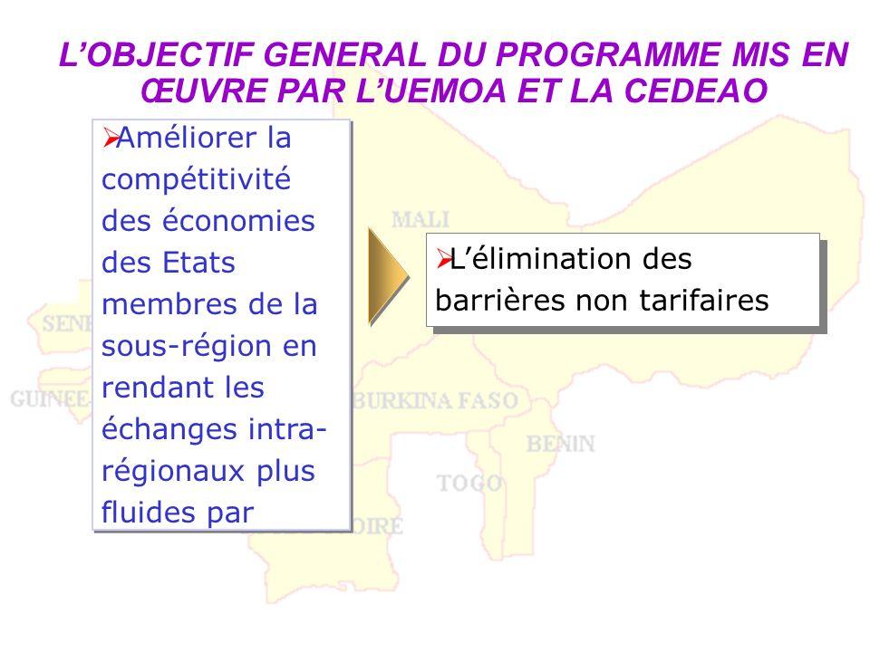 LOBJECTIF GENERAL DU PROGRAMME MIS EN ŒUVRE PAR LUEMOA ET LA CEDEAO Lélimination des barrières non tarifaires Améliorer la compétitivité des économies