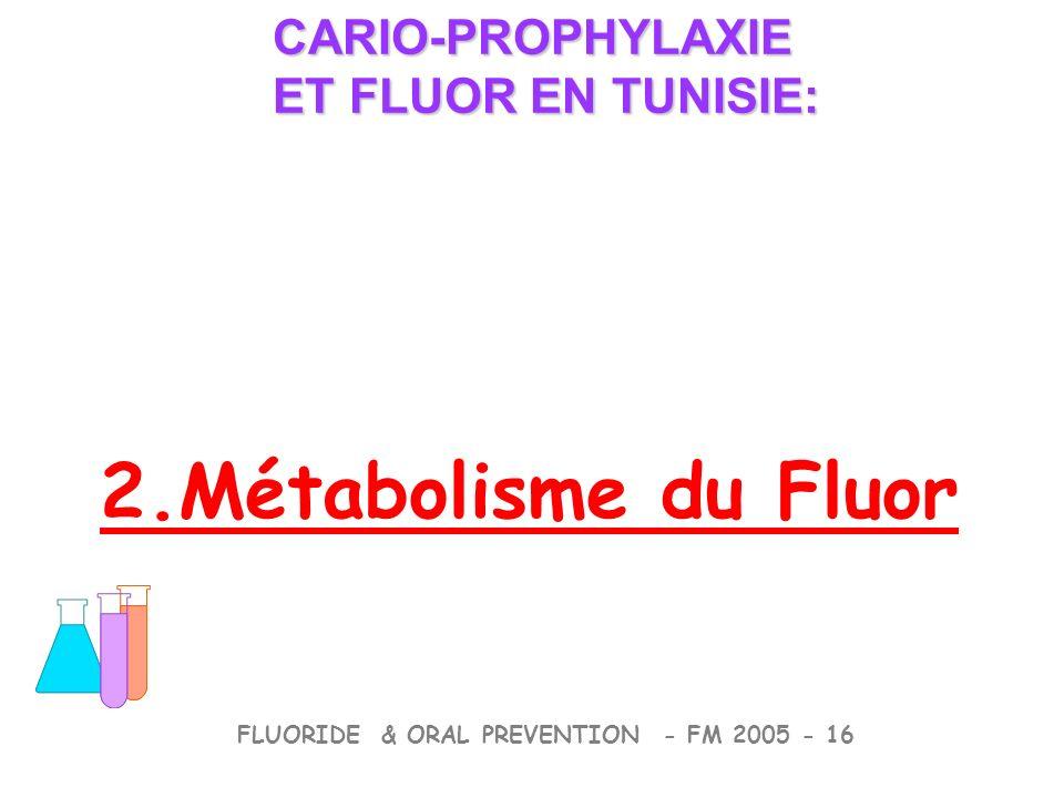 2.Métabolisme du Fluor CARIO-PROPHYLAXIE ET FLUOR EN TUNISIE: CARIO-PROPHYLAXIE ET FLUOR EN TUNISIE: FLUORIDE & ORAL PREVENTION - FM 2005 - 16