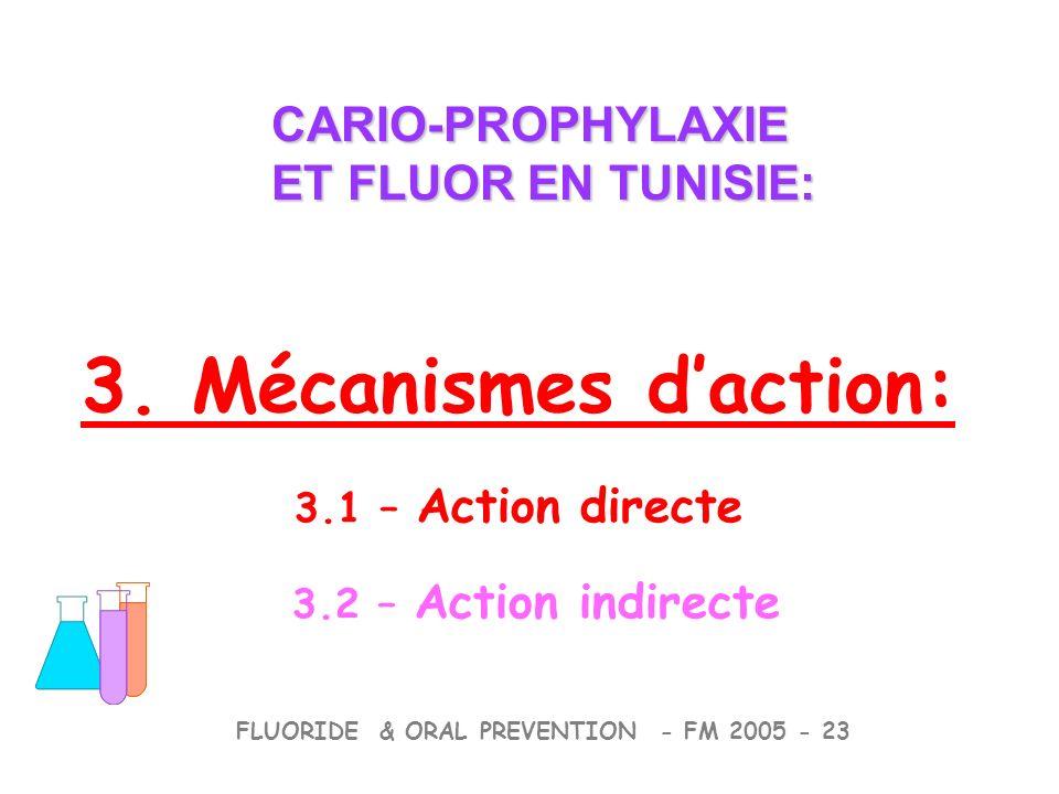 3. Mécanismes daction: 3.1 – Action directe 3.2 – Action indirecte CARIO-PROPHYLAXIE ET FLUOR EN TUNISIE: CARIO-PROPHYLAXIE ET FLUOR EN TUNISIE: FLUOR