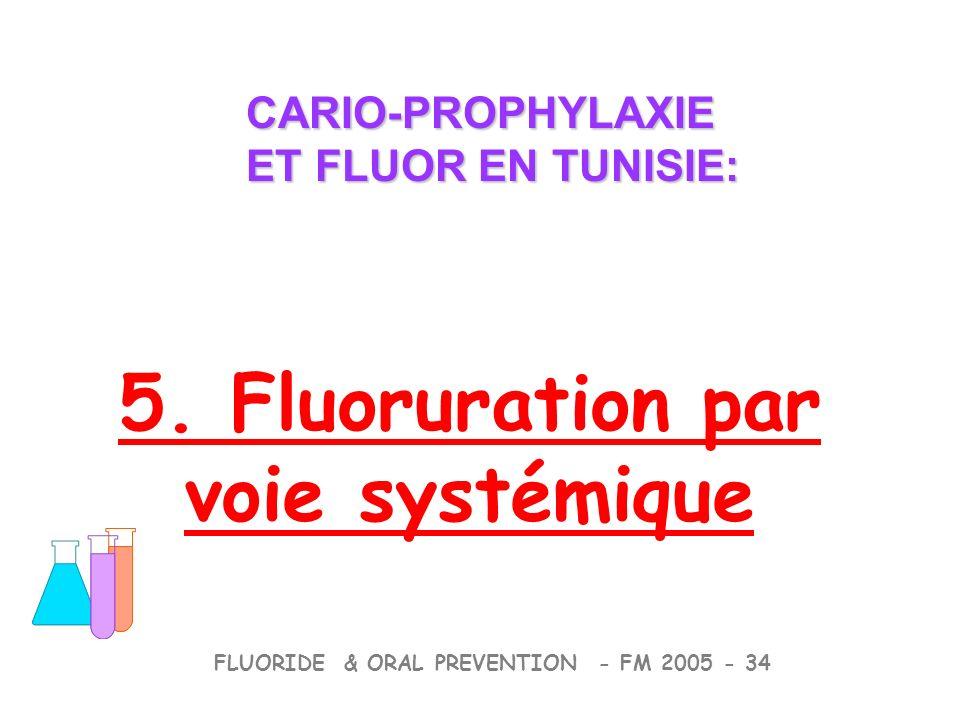 CARIO-PROPHYLAXIE ET FLUOR EN TUNISIE: CARIO-PROPHYLAXIE ET FLUOR EN TUNISIE: FLUORIDE & ORAL PREVENTION - FM 2005 - 34 5.