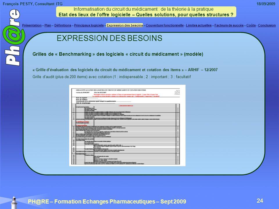 François PESTY, Consultant ITG 18/09/2009 PH@RE – Formation Echanges Pharmaceutiques – Sept 2009 24 EXPRESSION DES BESOINS Grilles de « Benchmarking » des logiciels « circuit du médicament » (modèle) « Grille dévaluation des logiciels du circuit du médicament et cotation des items » – ARHIF – 12/2007 Grille d audit (plus de 200 items) avec cotation (1 : indispensable ; 2 : important ; 3 : facultatif Informatisation du circuit du médicament : de la théorie à la pratique Etat des lieux de loffre logicielle – Quelles solutions, pour quelles structures .