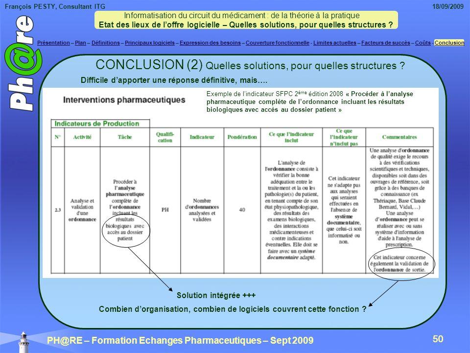 François PESTY, Consultant ITG 18/09/2009 PH@RE – Formation Echanges Pharmaceutiques – Sept 2009 50 CONCLUSION (2) Quelles solutions, pour quelles structures .